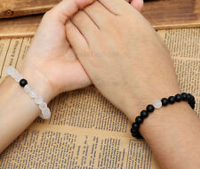 Couples His Hers Distance Bracelets Energy Beaded For Lovers Matte Onyx 10pcs