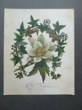 Victorian CHRISTMAS Card on Silk Ivy Wreath Flower 1882 Hand Written Verse