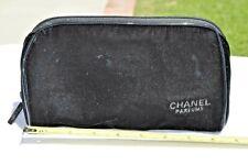 Chanel Parfums Black Velvet Zipper Case Pouch Cosmetics Bag Euc