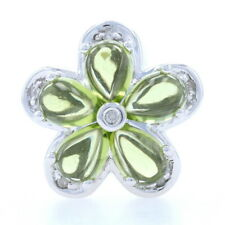 R Klein Peridot & Diamond Flower Slide Charm 14k White Gold KLJCI Pear Cabochons