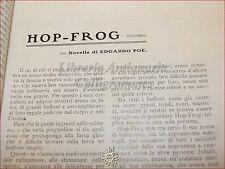 GIOVINEZZA Antica Rivista Illustr. 1909 n.16 Otranto Poe HOP FROG Bernini India