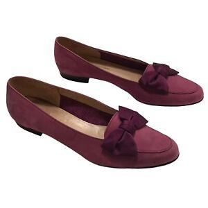 Salvatore Ferragamo Suede Bow Flats Loafers Magenta Mauve Pink Sz 9.5 A2 Italy