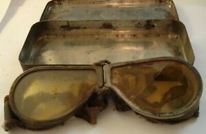 WW2 British Army Goggles in a Tin dated 1941; probably the worst pair ever......
