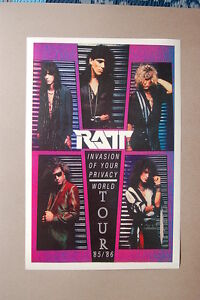 Ratt Concert Tour Poster Invasion of your Privacy 85/86 World Tour---