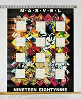 Rare Vintage 1989 Marvel Characters Calendar Poster Comic Books Spiderman