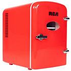 RCA Mini Retro Fridge 6 Can Beverage Compact Refrigerator and Warmer - Red photo