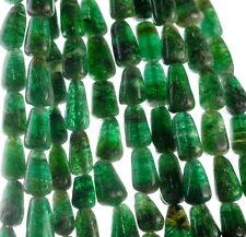 "9X5-12X7MM GREEN MOSS AVENTURINE GEMSTONE GREEN TEARDROP NUGGET LOOSE BEADS 14"""