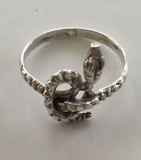 Snake Ring - Antiqued Solid Sterling Silver - Size 7