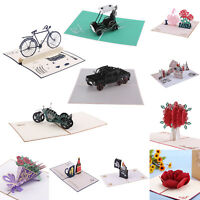 3D Pop Up Paper- Cut Greeting Card Postcard Flower Birthday Invitation Card Gift