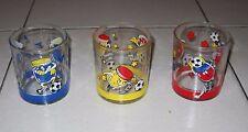 Serie 3 bicchieri NUTELLA BARATTOLO CALCIATORI Calcio Kinder Ferrero Glasses