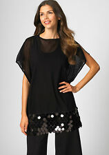 NWT MISOOK XS EVENING BLACK SHEER SEQUIN BOAT NECK TUNIC TOP MISSES XS 2