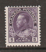 Canada Sc 112 MLH. 1922 5c violet Admiral, wet printing