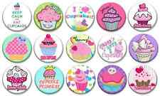 "GIRLY CUPCAKES - Lot of 15 - Pin Back - 1"" Buttons Badges (One Inch) – Set"