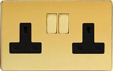 Varilight Screwless light switch Polished brass Double Socket 2 gang XDV5BS