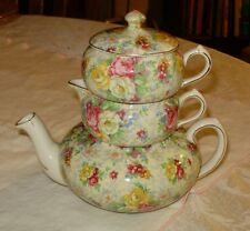 BEAUTIFUL ANTIQUE LORD NELSON CHINTZ STACKABLE TEA POT ROSE TIME