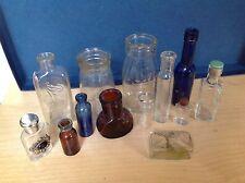 Vintage Glass bottle Collection Job lot 13 tins  poison bottles , sauce  milk