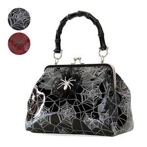 Banned Spider & Webs Gothic Horror Punk Rockabilly Scary Womens Ladies Handbag