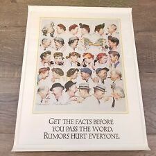 "Norman Rockwell Vintage Poster Print 17"" x 22"" Rumors Hurt Everyone"