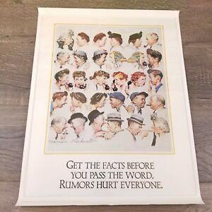 "Norman Rockwell Vintage Poster Print 17"" x 22"" Rumors Hurt Everyone"