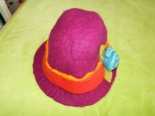 Funky Purple Felt Cloche Hat with Red/Orange Band & Flower Hippie Boho Festival