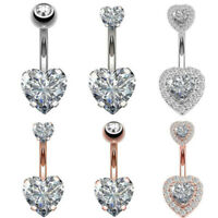 Surgical Steel Rhinestone Navel Belly Ring Button Body Crystal Heart Piercing