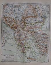 1889 BALKAN-HALBINSEL alte Landkarte antique map Lithographie