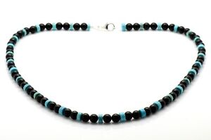 Mens Bead Necklace Black Onyx and Turquoise 925 Sterling Silver Clasp Handmade