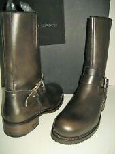 NEW DSQUARED2 Men US 10 EU 43 Moto Zip Up Black Leather Buckle Harness Boots Box