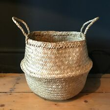 Small Plain Seagrass Belly Basket Natural Straw Planter Laundry Basket Storage