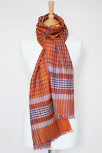 NEW! LORO PIANA terracotta silk cashmere knit striped checked scarf shawl stole