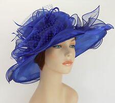 New Church Kentucky Derby Wedding Organza Wave Ascot Dress Hat 3190 Royal blue
