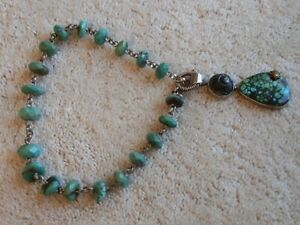 STEPHEN DWECK ONE OF A KIND STERLING TIBETAN TURQUOISE NECKLACE W. PENDANT