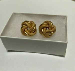 Knot Earrings 14k Yellow solid Gold - 18+ mm Wide. Heavy, OVER 7 Grams