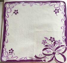 "VINTAGE Floral Ribbon Violets Purple HANKIE HANKERCHIEF 11.5"""