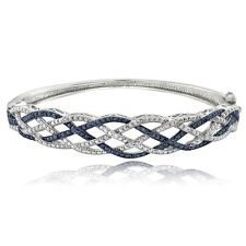 1/4 Ct Blue & White Diamond Weave Bangle Bracelet