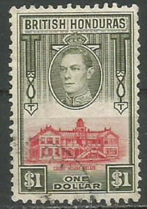 British Honduras 1938 $1 Red & Olive KGVI,Court House,Belize,Fine Used(o) SG#159