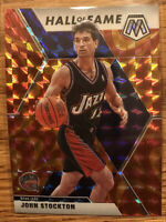 2019-2020 Panini Mosaic Hall Of Fame John Stockton Orange Reactive Mosaic Prizm