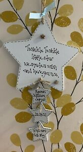 Personalised Wooden Hanging New Baby Boy Star, New Baby Details Star