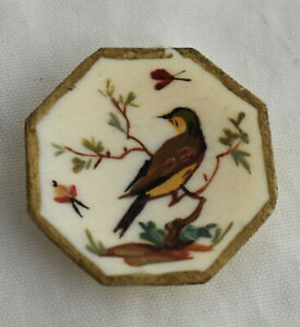Vtg Dollhouse Miniature HP Yellow Bird Art Plate Artisan Natasha Beshenkovky
