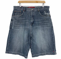 Quiksilver Quikjean Mens Grey Long Denim Shorts Size 36 W36 L11.5