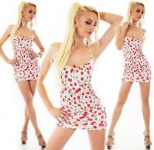 Italy Mujer Mini Vestido Corto de Playa Party Verano Cerezas Blanco - Rojo 34-38