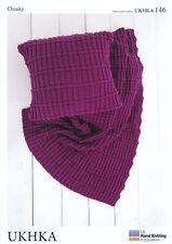 Chunky Knitting Pattern UKHKA 146 Easy Knit Design Cushion Cover & Blanket Throw