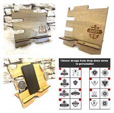 Rustic Charging dock station organiser Wooden Dad Men Personalised gift phone