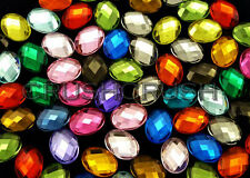 40pcs 18x13mm Assorted Color Faceted Oval Gems Cabochons Setting Flat back F755