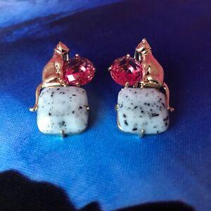 GENUINE Les Nereides CATS & Jewels Earrings - Hallmarked - NEW  - Last Pair!