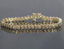 14k oro giallo 2.00CT Marrone colore diamante rotondo TENNIS 18.4cm S bracciale