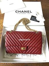 Chanel Red Chevron Calfskin Reissue 226 Flap Bag with Gold Hardware