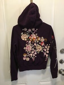 Lucky Brand Dungarees Hoodie Jacket Embroidered Flowers Purple Womens Small