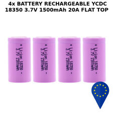 4x BATTERY YCDC 18350 1500mAh 20A 3.7v LITHIUM RECHARGEABLE BATTERIA FLAT TOP