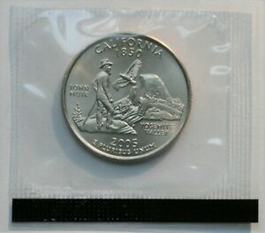 2005 D California State Quarter Satin Finish In Mint Cello US Coin